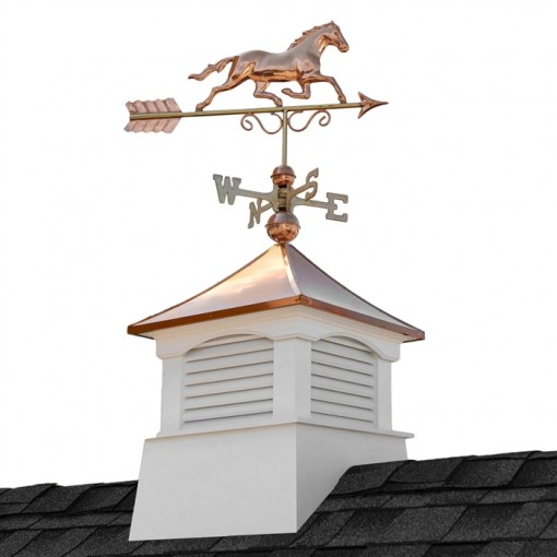Square Coventry Vinyl Cupola with Horse Weathervane 18""