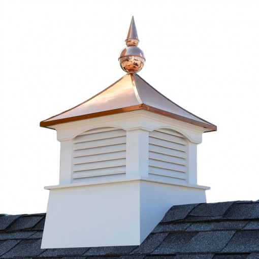 Square Coventry Vinyl Cupola with Avalon Copper Finial 18""