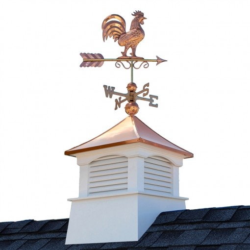 "18"" Square Coventry Vinyl Cupola with Rooster Weathervane"