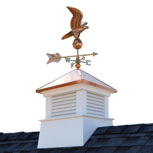 "26"" Square Manchester Vinyl Cupola with Eagle Weathervane"