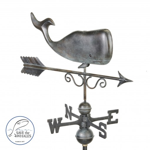 Good Directions Save the Whales™ Weathervane - Pure Copper Hand Finished Patina