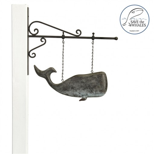 Hanging Save The Whales™ Weathervane Sign with Decorative Bracket