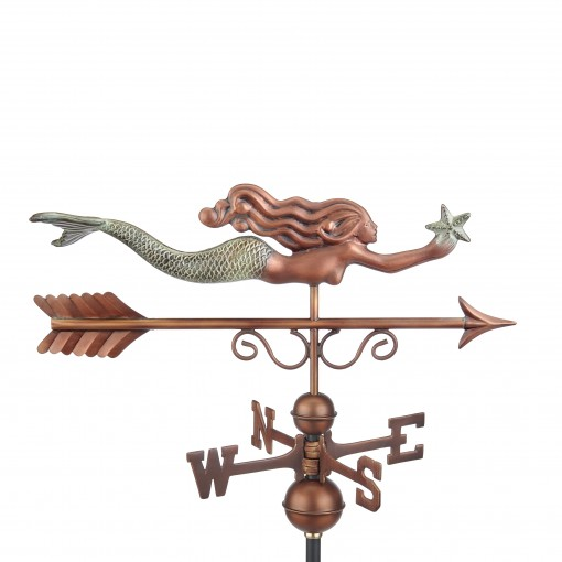 Good Directions Little Mermaid Weathervane - Pure Copper Hand Finished Patina