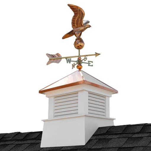 "18"" Square Manchester Vinyl Cupola with Eagle Weathervane"