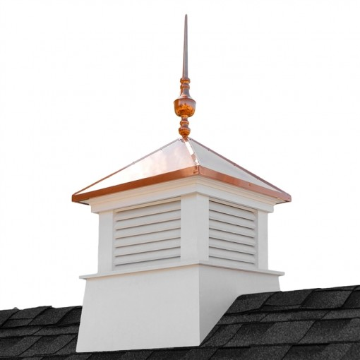 "26"" Square Manchester Vinyl Cupola with Victoria Copper Finial"