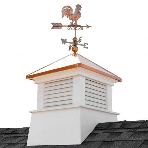 "30"" Square Manchester Vinyl Cupola with Rooster Weathervane"