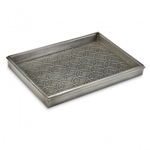 """Good Directions 20"""" Double Circles Boot Tray 4205DZ for Boots, Shoes, Plants, Pet Bowls, and More, Dark Zinc, Gray Finish"""