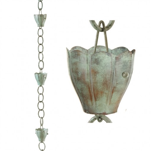 6 Cup Crocus Blue Verde Copper 8.5 ft. Rain Chain