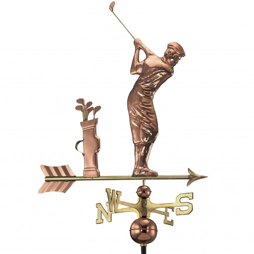 Good Directions Golfer Weathervane - Pure Copper