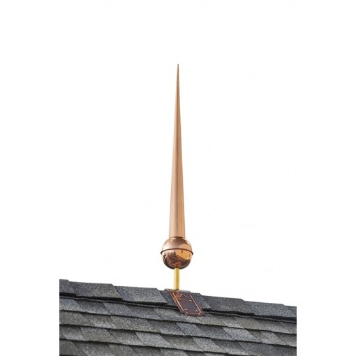 "28"" Gawain Pure Copper Finial with Decorative Copper Roof Mount"