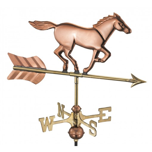 Horse Cottage Weathervane - Pure Copper w/Roof Mount by Good Directions