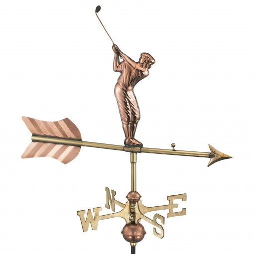 Good Directions Golfer Cottage Weathervane - Pure Copper w/Roof Mount