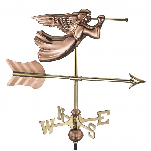 Good Directions Angel Cottage Weathervane - Pure Copper w/Roof Mount