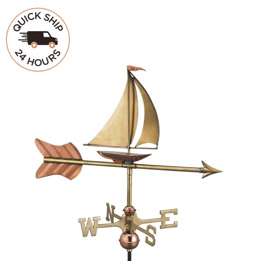 Good Directions Sailboat Cottage Weathervane - Pure Copper w/Roof Mount