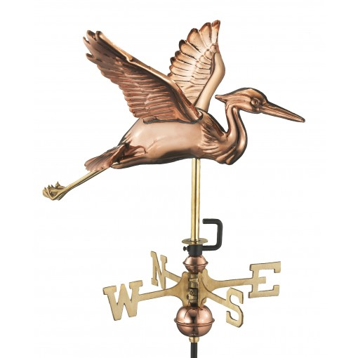 Good Directions Blue Heron Cottage Weathervane - Pure Copper w/Roof Mount