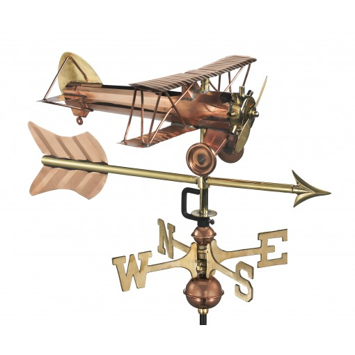 Good Directions Biplane with Arrow Cottage Weathervane - Pure Copper w/Roof Mount
