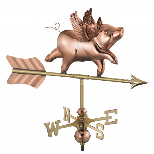 Good Directions Flying Pig Cottage Weathervane - Pure Copper w/Roof Moun