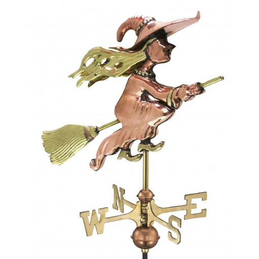 Good Directions Witch Cottage Weathervane - Pure Copper w/Roof Mount