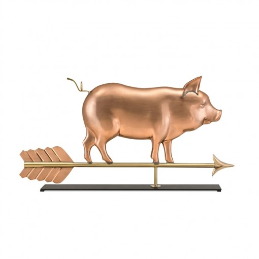 Country Pig Pure Copper Weathervane Sculpture on Mantel Stand