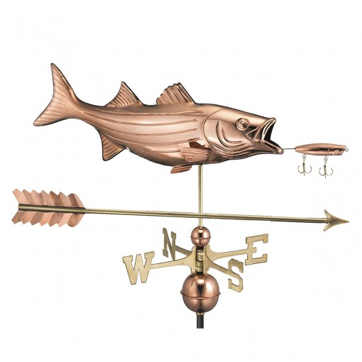 Good Directions Bass with Lure and Arrow Weathervane - Pure Copper