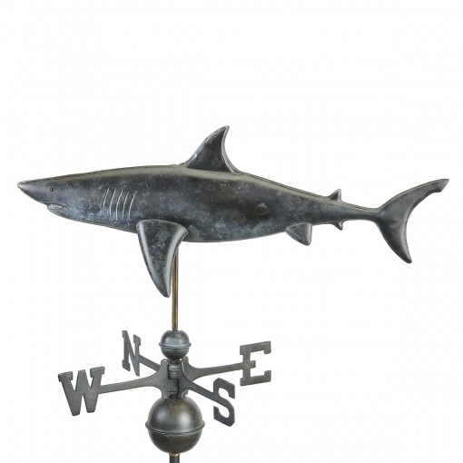 Good Directions Shark Weathervane - Pure Copper Hand Finished Grey Patina