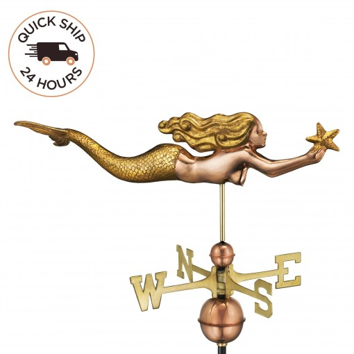 Good Directions  Mermaid with Starfish Weathervane - Pure Copper with Golden Leaf Finish