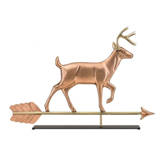White Tail Buck Pure Copper Weathervane Sculpture on Mantel Stand