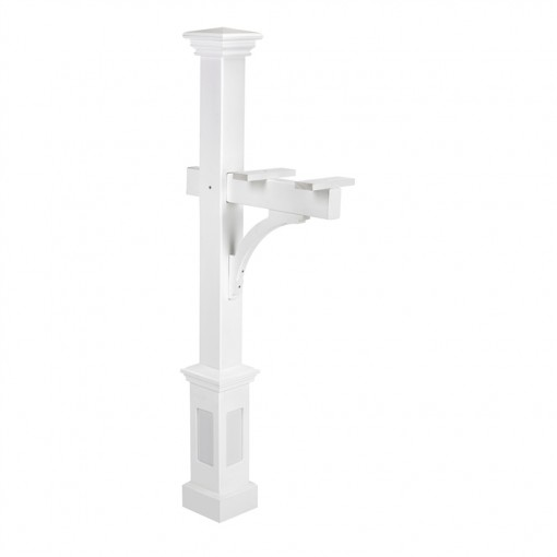 Vinyl Mailbox Post with Box Base, White