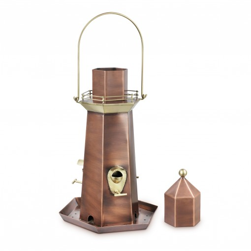 Good Directions Copper and Brass Lighthouse Bird Feeder – Extra-Large 5 lb. Seed Capacity