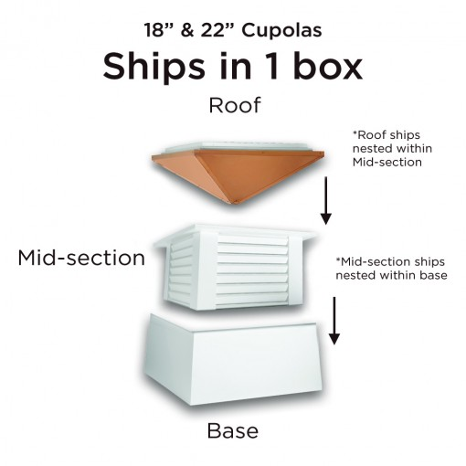 """Good Directions Manchester Vinyl Cupola with Copper Roof 22"""" x 27"""""""