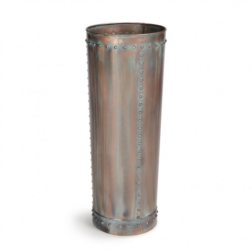 Tall Riveted Verdigris Planter