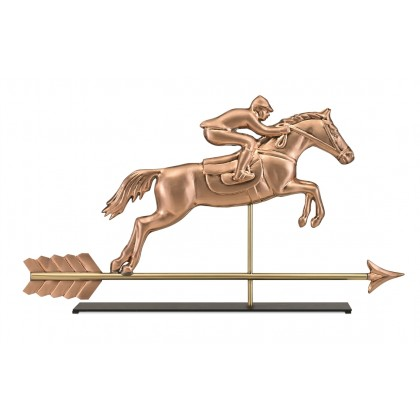 Jumping Horse & Rider Pure Copper Weathervane Sculpture on Mantel Stand