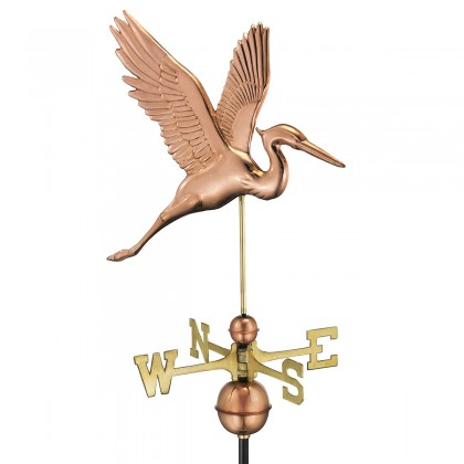 Good Directions Graceful Blue Heron Weathervane - Pure Copper