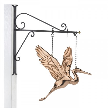 Hanging Blue Heron Pure Copper Weathervane Sign with Decorative Bracket