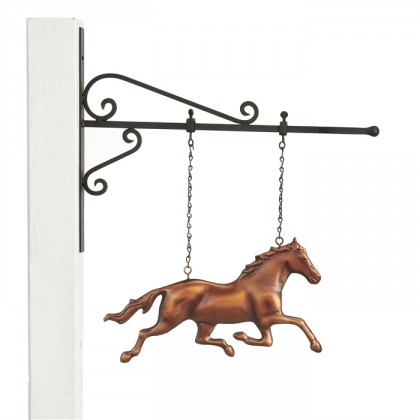 Hanging Galloping Horse Pure Copper Weathervane Sign with Decorative Bracket