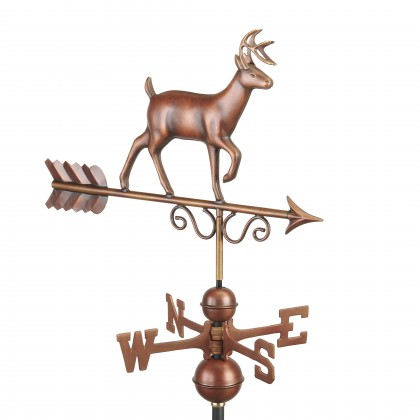 Good Directions Proud Buck Weathervane - Pure Copper Hand Finished Bronze Patina