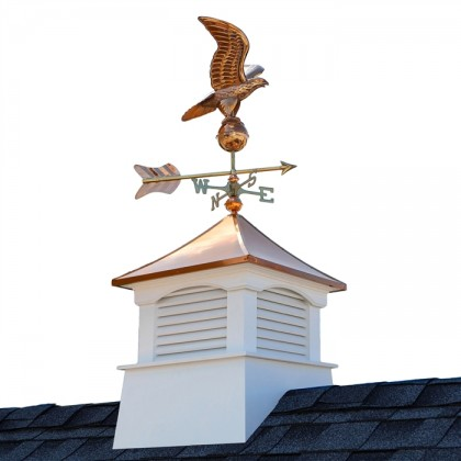 Square Coventry Vinyl Cupola with Eagle Weathervane 18""