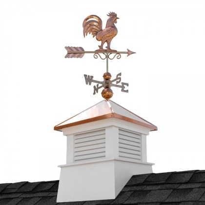 "18"" Square Manchester Vinyl Cupola with Rooster Weathervane"