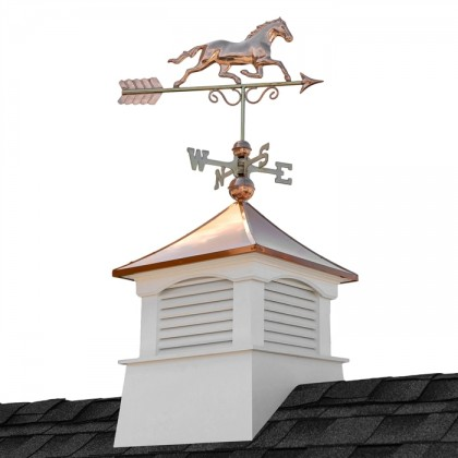 "26"" Square Coventry Vinyl Cupola with Horse Weathervane"