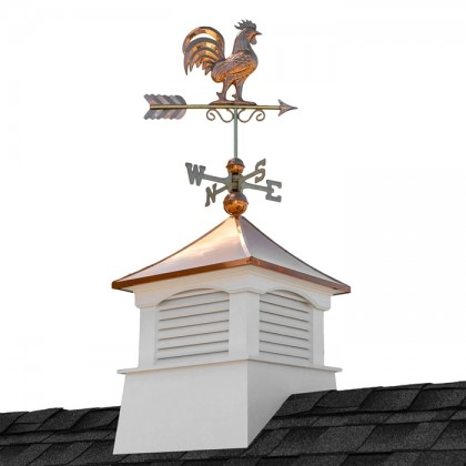 "26"" Square Coventry Vinyl Cupola with Rooster Weathervane"