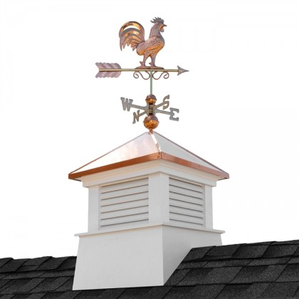 "26"" Square Manchester Vinyl Cupola with Rooster Weathervane"