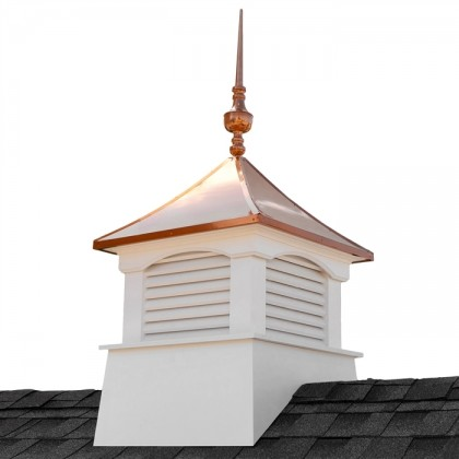 "30"" Square Coventry Vinyl Cupola with Victoria Copper Finial"