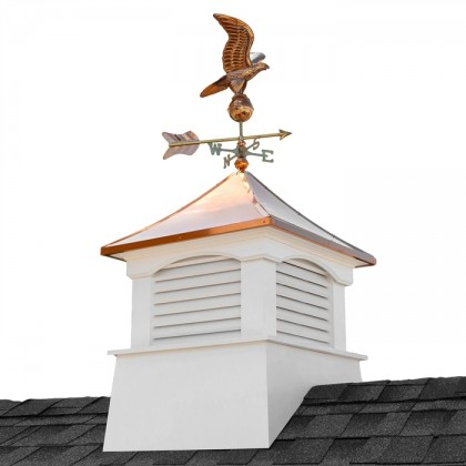 "30"" Square Coventry Vinyl Cupola with Eagle Weathervane"