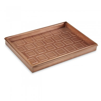 """Good Directions 20"""" Squares Multi-Purpose Boot Tray 4103VB for Boots, Shoes, Plants, Pet Bowls, and More, Copper Finish"""