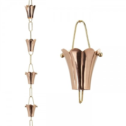 Fluted Flower Pure Copper 8.5 ft. Rain Chain