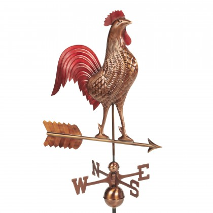 Good Directions Large Rooster Weathervane  - Pure Copper Hand Finished Multi-Color Patina