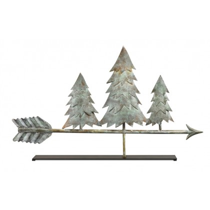 Pine Trees Blue Verde Copper Weathervane Sculpture on Mantel Stand