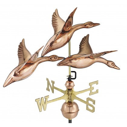 """Good Directions 28"""" 3 Geese in Flight Weathervane - Pure Copper"""
