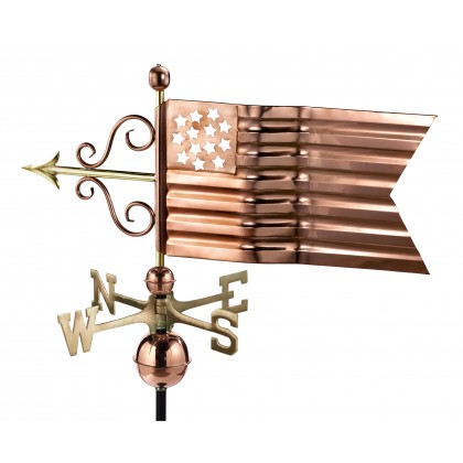 Good Directions American Flag Weathervane - Pure Copper