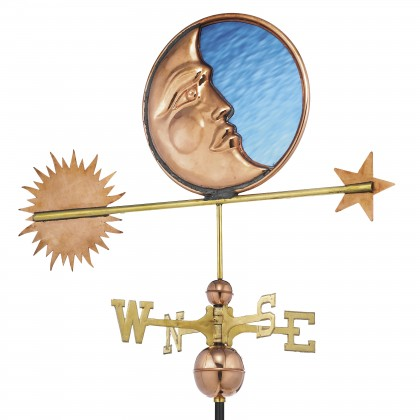 Good Directions Stained Glass Moon Weathervane - Pure Copper